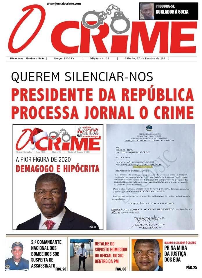 SIC notifica jornal 'O Crime' por alegada ofensa